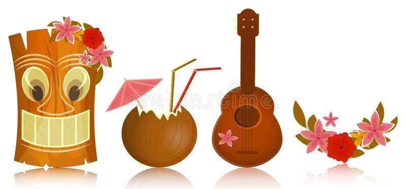 Ícones havaianos ilustração royalty free