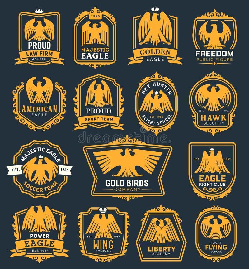 Ícones heráldicos do pássaro de Eagle, símbolos da heráldica do falcão ilustração do vetor