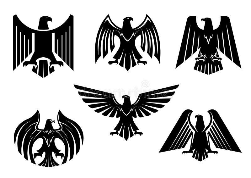 Ícones heráldicos isolados vetor dos pássaros do blazon de Eagle ilustração do vetor
