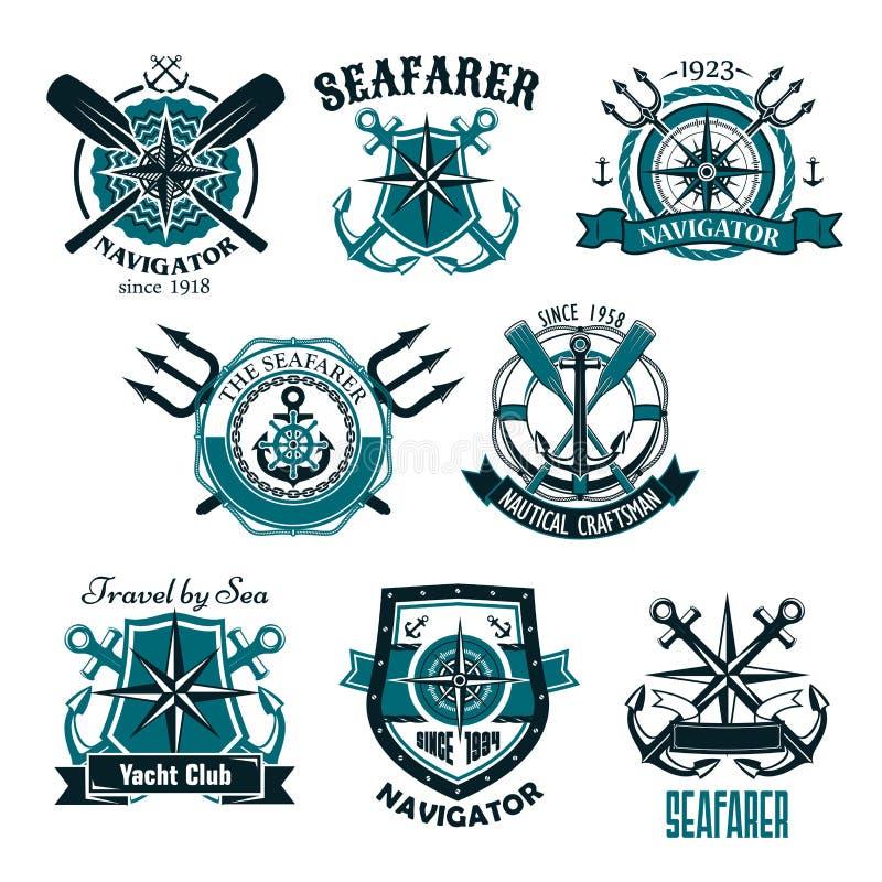 Ícones heráldicos náuticos do vetor do marinheiro marinho ilustração stock