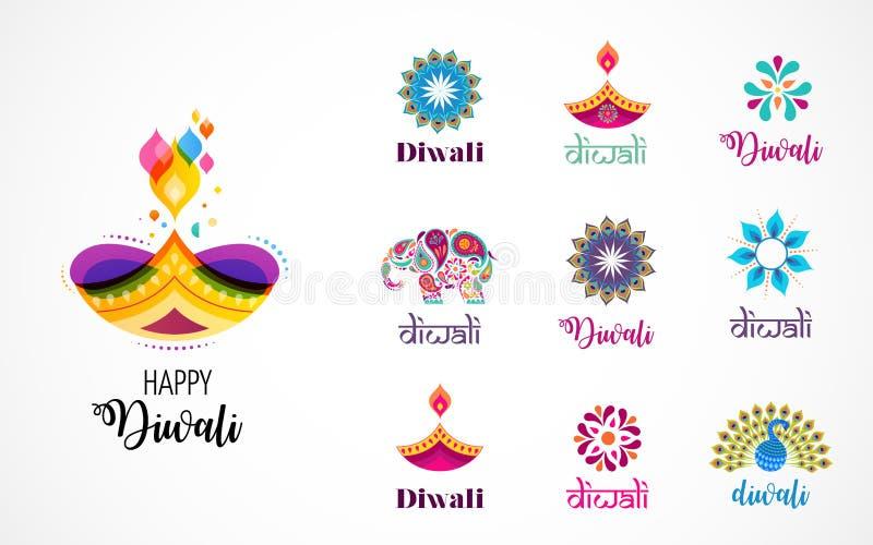 Ícones hindu felizes do festival de Diwali, elementos, grupo do logotipo Ilustração ardente do diya, festival claro da Índia ilustração royalty free