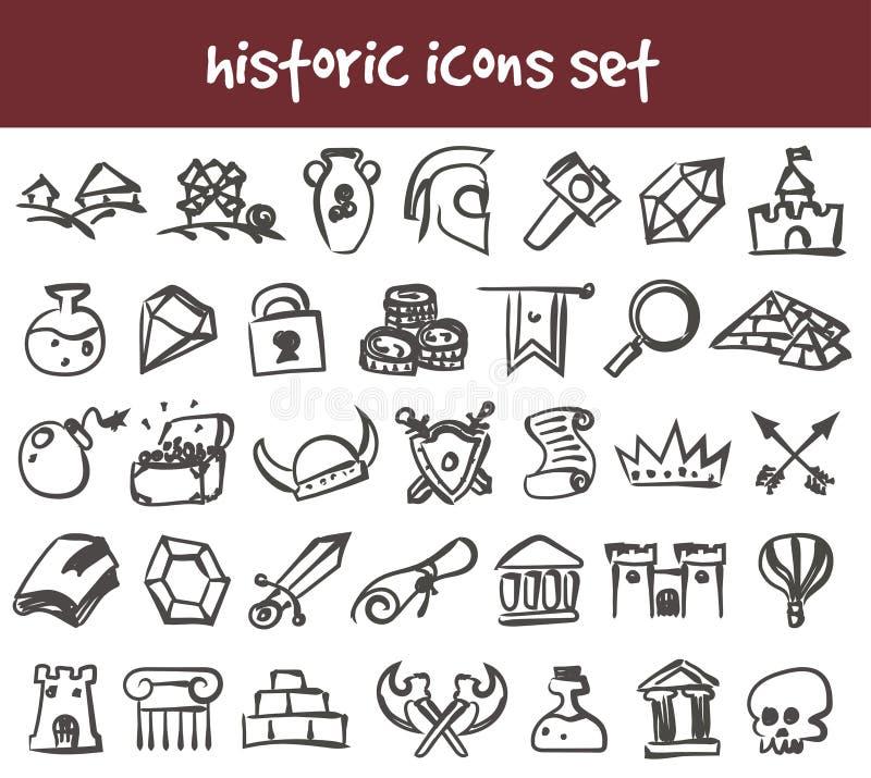 Ícones históricos da garatuja do vetor ajustados ilustração do vetor