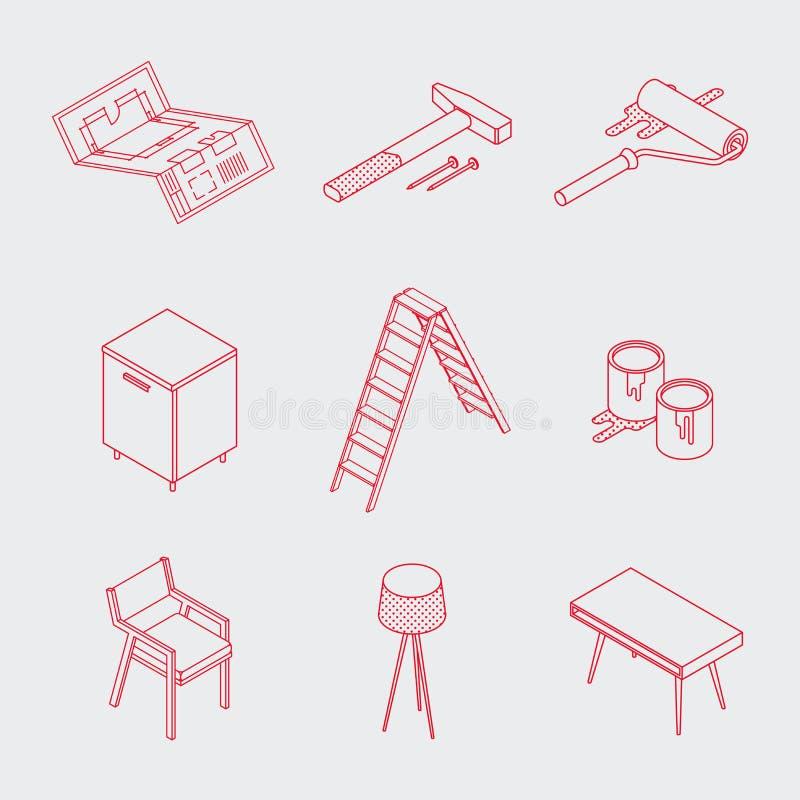 Ícones home isométricos da renovação de Minimalistic ilustração do vetor