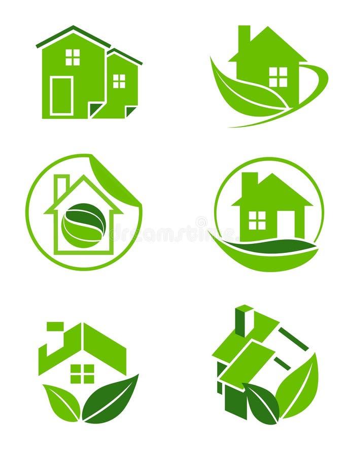 Ícones home verdes ilustração royalty free