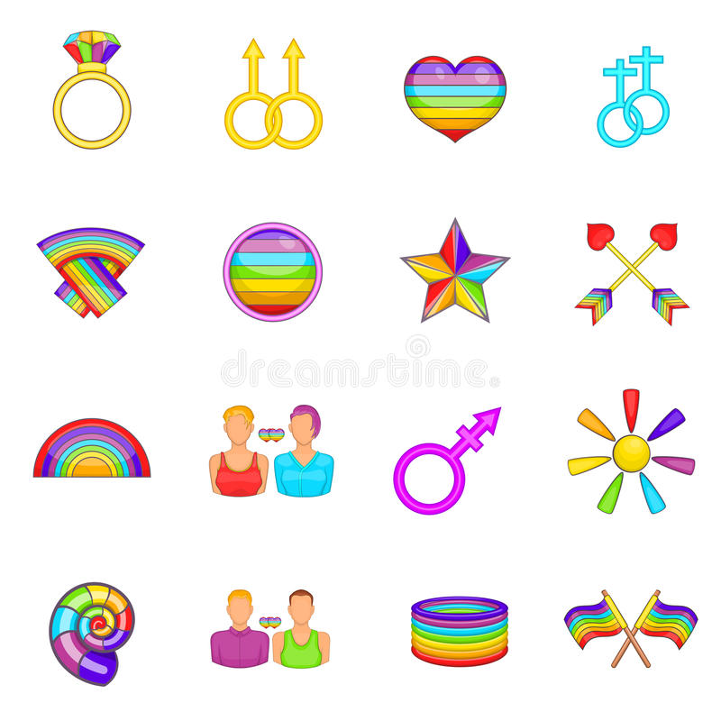 Ícones homossexuais ajustados, estilo dos desenhos animados ilustração stock