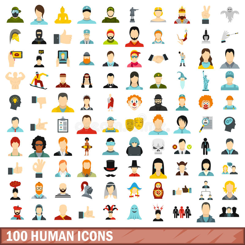 100 ícones humanos ajustados, estilo liso ilustração do vetor