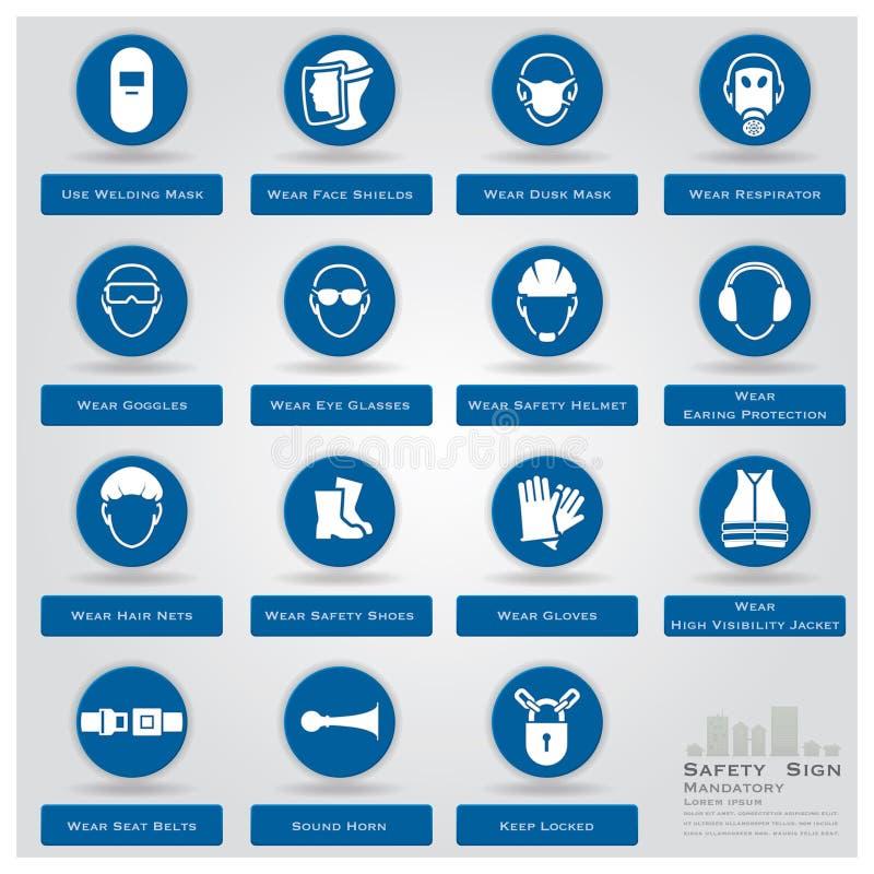 Ícones imperativos do sinal de segurança ajustados ilustração do vetor