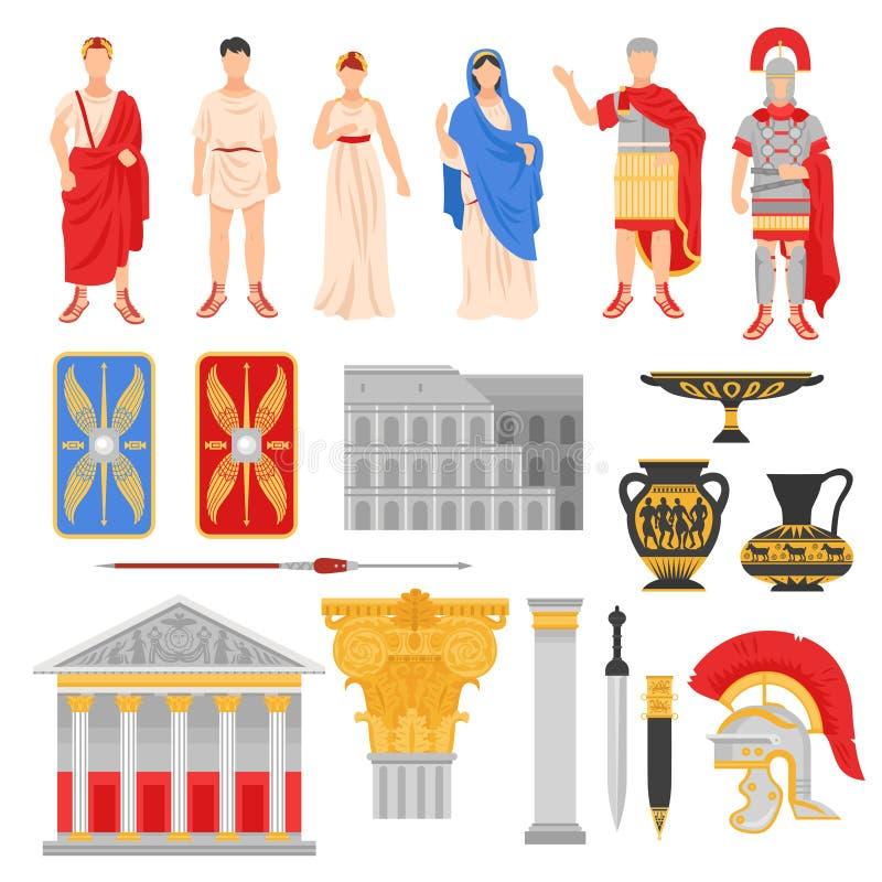 Ícones imperiais de Roma ajustados ilustração do vetor