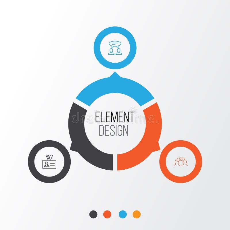 Ícones incorporados ajustados Coleção da cooperação, do diálogo, da autenticação e dos outros elementos Igualmente inclui símbolo ilustração do vetor