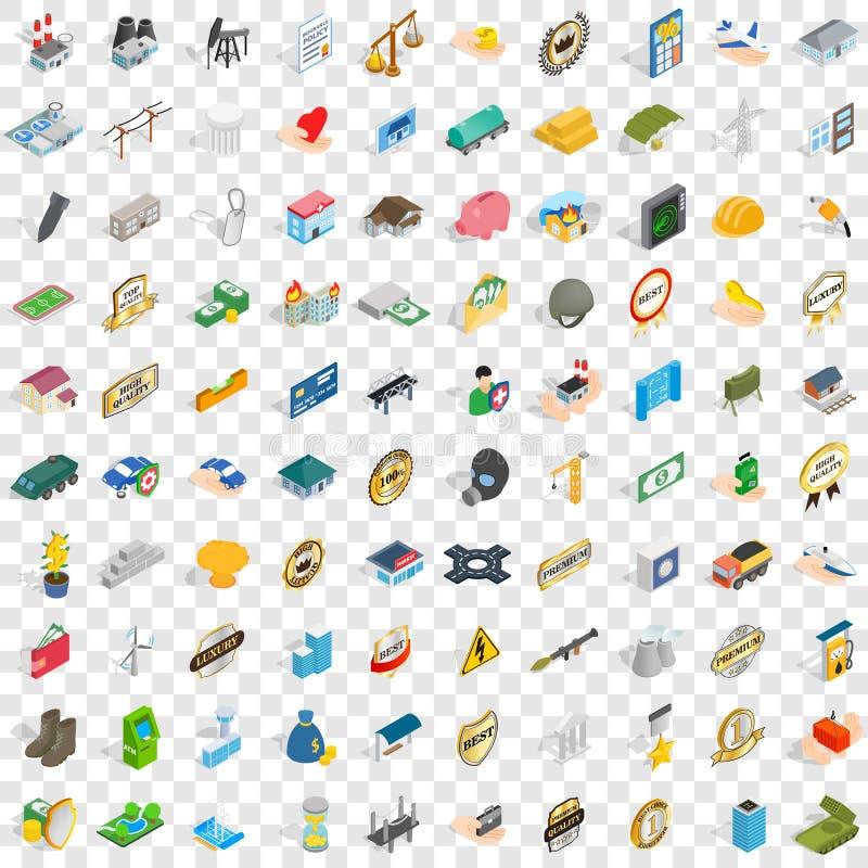 100 ícones incorporados ajustados, estilo 3d isométrico ilustração do vetor