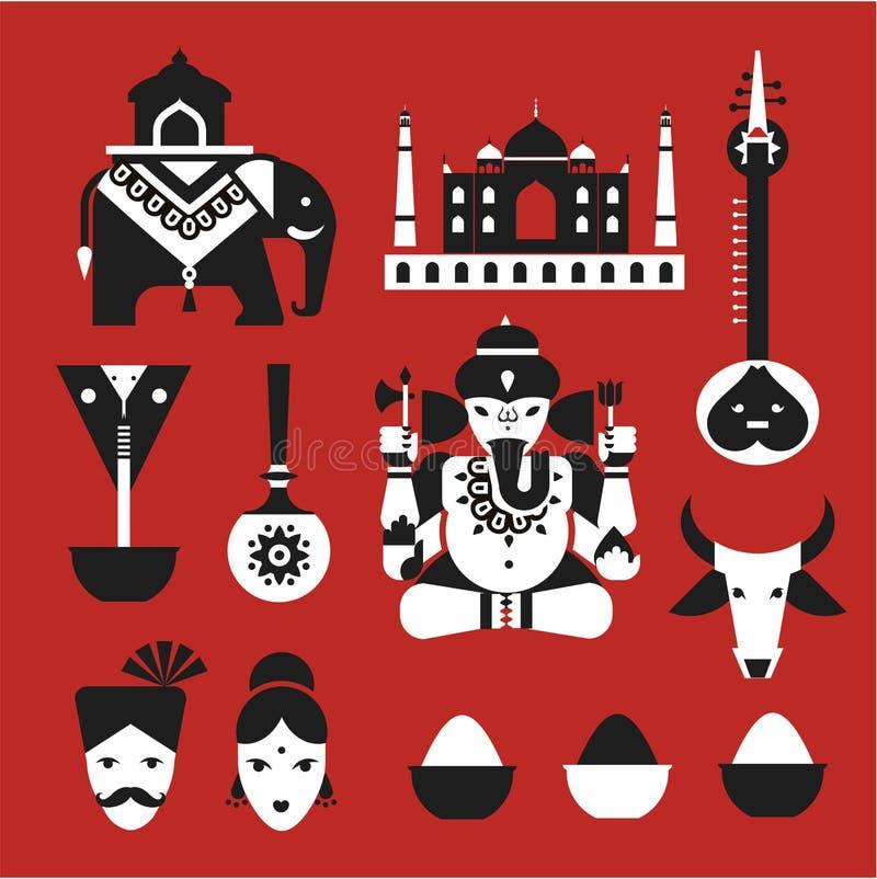 Ícones indianos ilustração royalty free