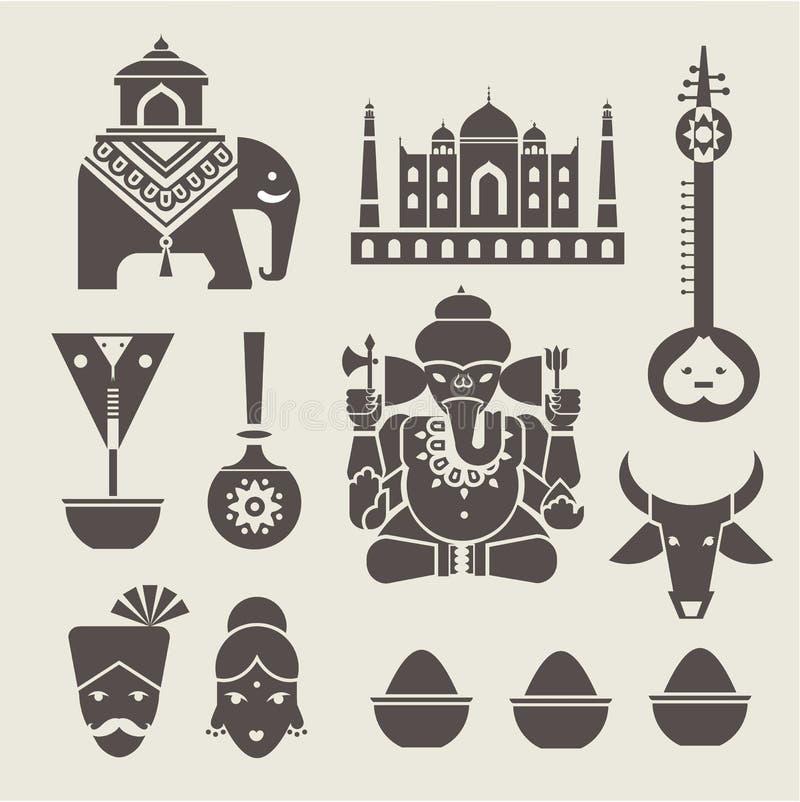 Ícones indianos ilustração stock