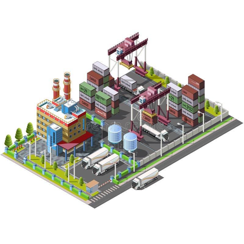 Ícones industriais isométricos dos armazéns, fábrica, ilustração stock