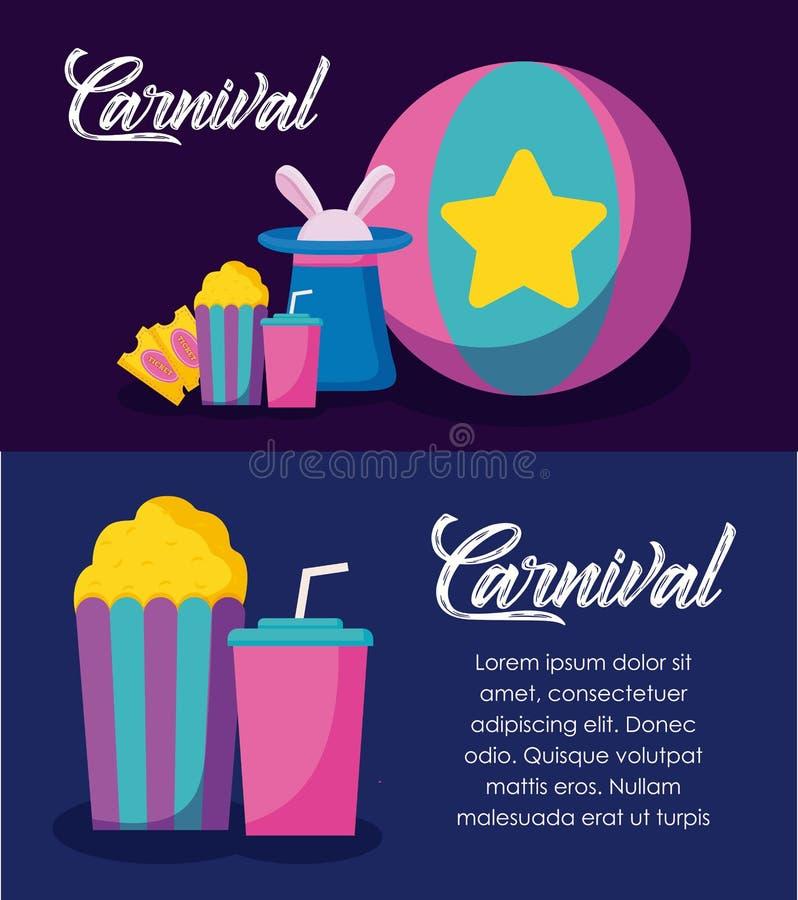 Ícones infographic da celebração do carnaval ilustração do vetor
