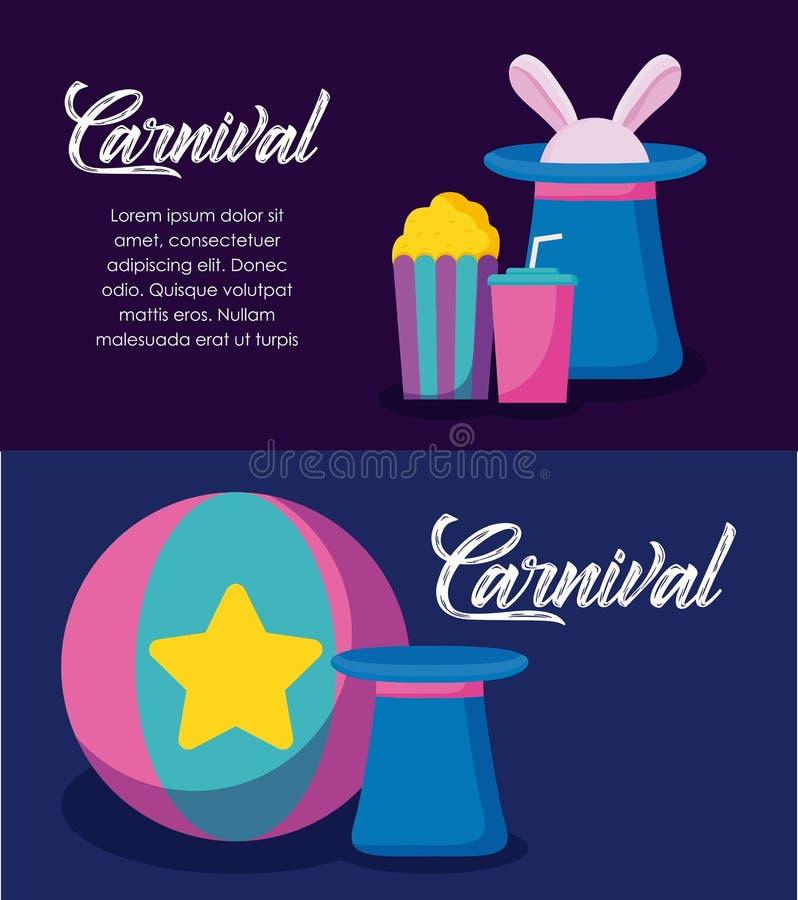 Ícones infographic da celebração do carnaval ilustração stock