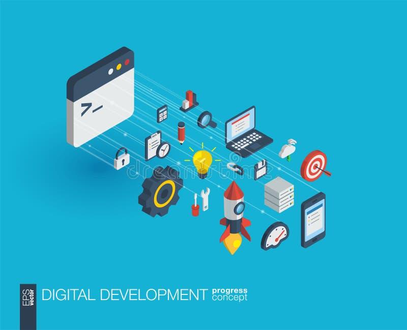 Ícones integrados desenvolvimento da Web 3d Conceito do crescimento e do progresso ilustração stock