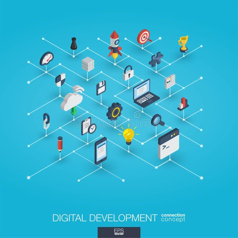 Ícones integrados desenvolvimento da Web 3d Conceito isométrico da rede de Digitas ilustração do vetor