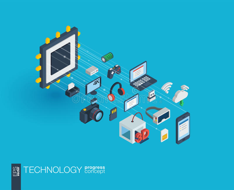 Ícones integrados tecnologia da Web 3d Conceito do crescimento e do progresso ilustração do vetor