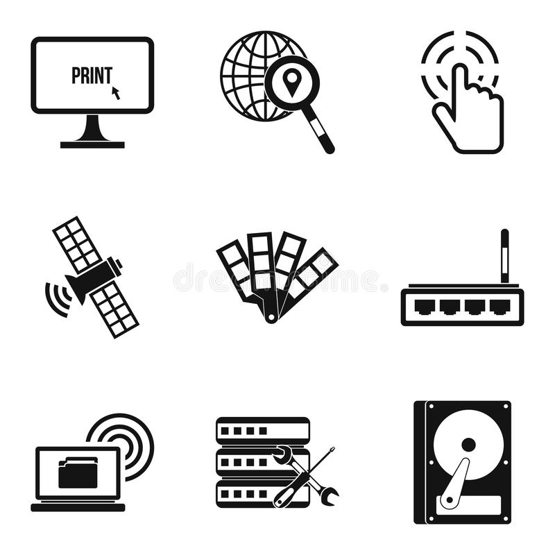 Ícones interativos ajustados, estilo simples dos recursos ilustração royalty free
