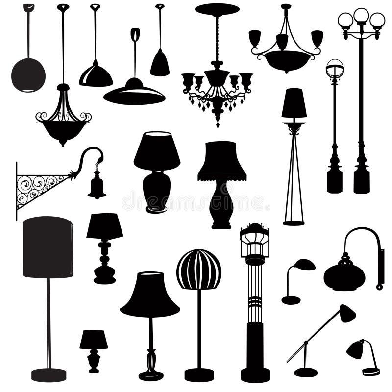 Ícones interiores da mobília Grupo do ícone da silhueta da lâmpada do teto ilustração stock
