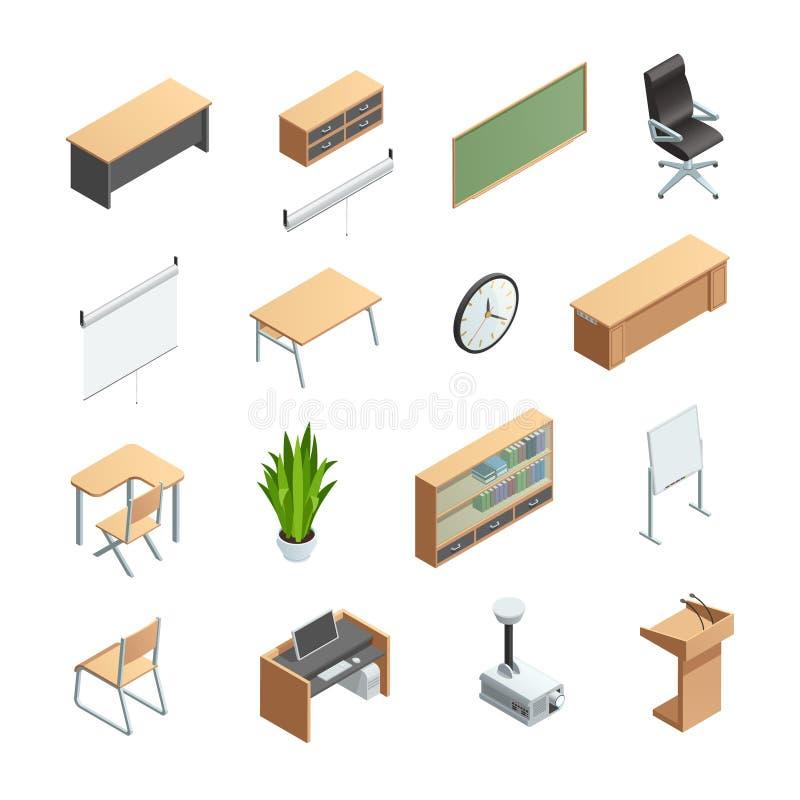 Ícones interiores dos elementos da sala de aula ajustados ilustração royalty free