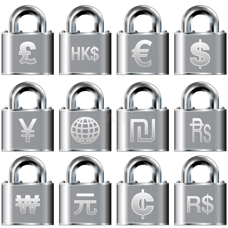 Ícones internacionais da moeda em teclas de fechamento ilustração stock