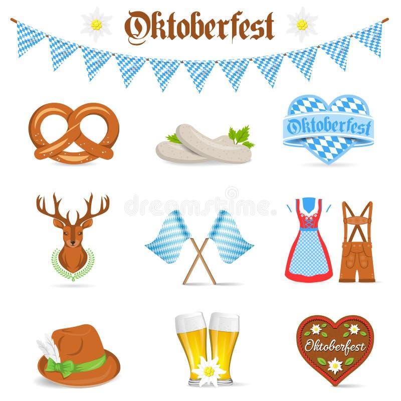 Ícones isolados bavaria do vetor de Oktoberfest ajustados ilustração do vetor