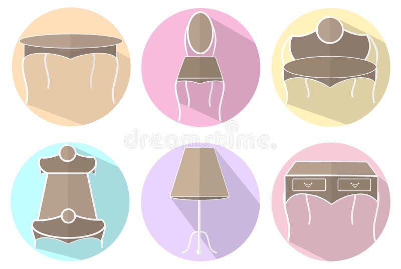 Ícones isolados da mobília do vintage ilustração stock