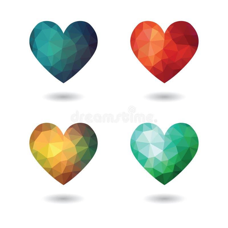 Ícones isolados do coração quebrado coleção futurista poligonal ilustração stock