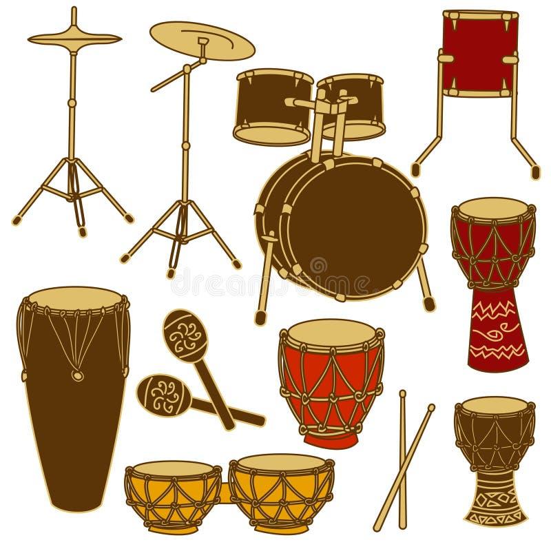 Ícones isolados do jogo e da percussão do cilindro ilustração do vetor