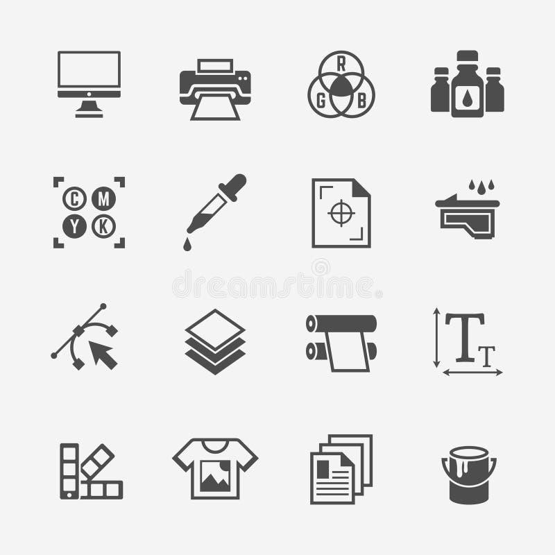 Ícones isolados do preto do vetor do serviço de impressão ilustração do vetor