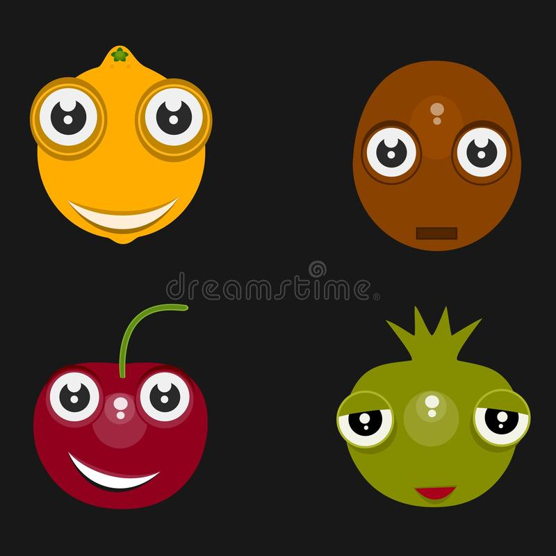Ícones isolados engraçados: limão, cereja, batata e cebola com fundo preto ilustração royalty free