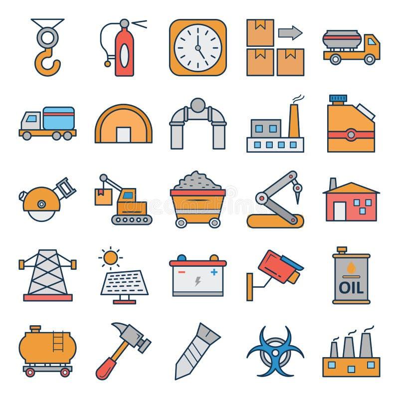 Ícones isolados industriais do vetor que podem facilmente ser alterados ou editado ilustração royalty free