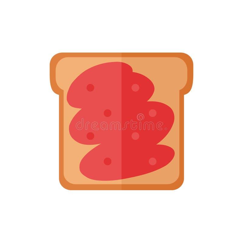 Ícones isolados pão do brinde no fundo branco fotos de stock royalty free
