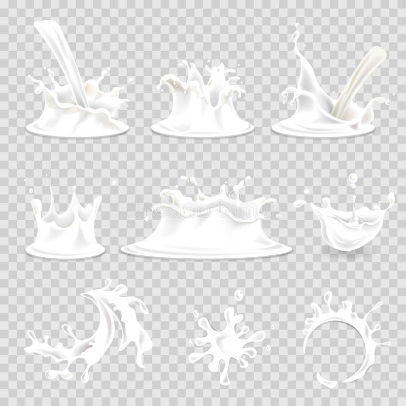 Ícones isolados realísticos de derramamento do vetor 3d das gotas do respingo do leite ajustados ilustração do vetor