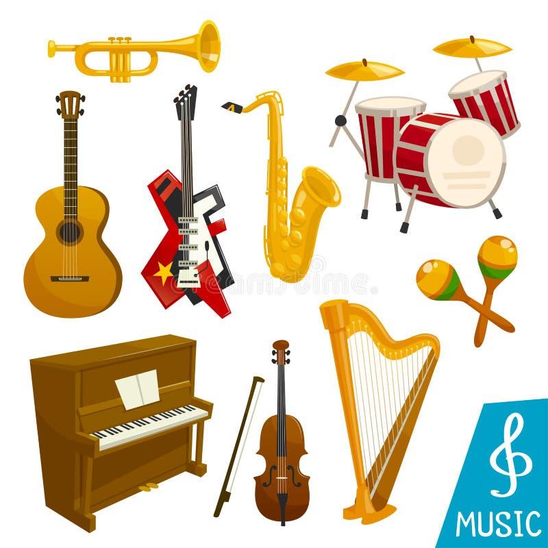 Ícones isolados vetor dos instrumentos musicais ilustração do vetor