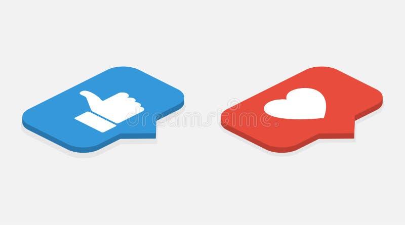 Ícones isométricos Ajuste como o ícone Como o ícone contrário da notificação Como ícones ilustração royalty free