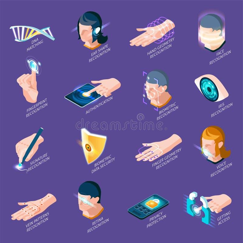 Ícones isométricos da autenticação biométrica ilustração royalty free