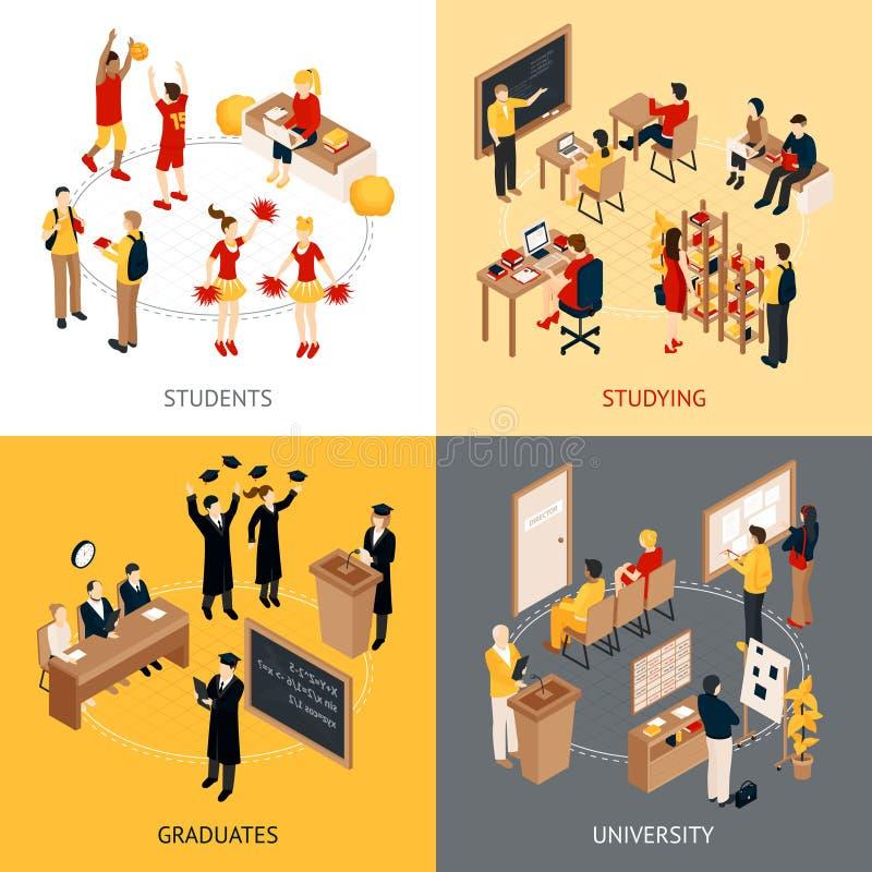 Ícones 2x2 isométricos da faculdade e da universidade ajustados ilustração royalty free