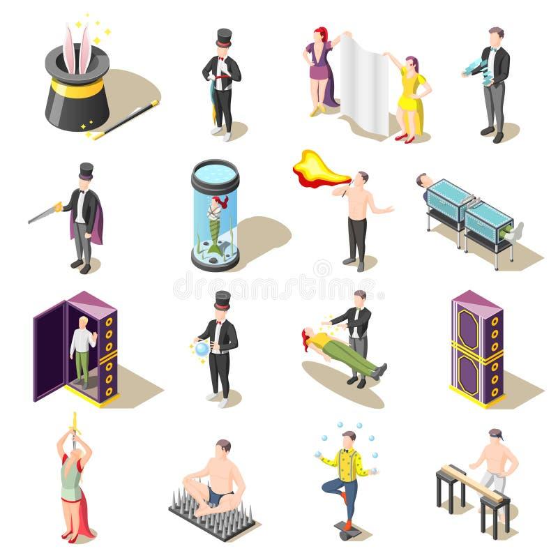 Ícones isométricos da mostra mágica ilustração royalty free
