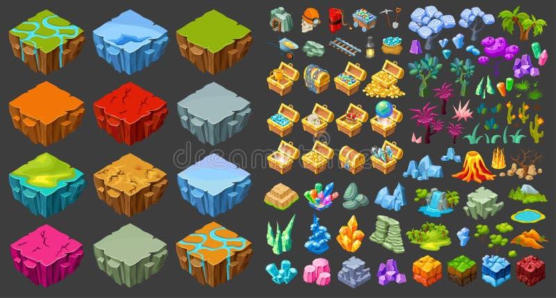 Ícones isométricos da paisagem do jogo ajustados ilustração do vetor