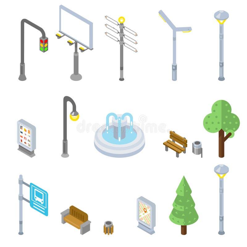 Ícones isométricos da rua da cidade Objetos urbanos do vetor 3d ilustração royalty free