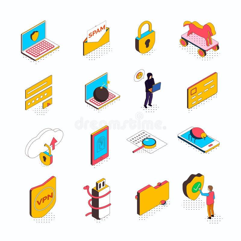 Ícones isométricos da segurança do Cyber ilustração do vetor