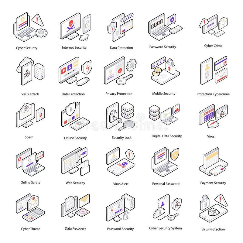 Ícones isométricos da segurança do Cyber ilustração royalty free