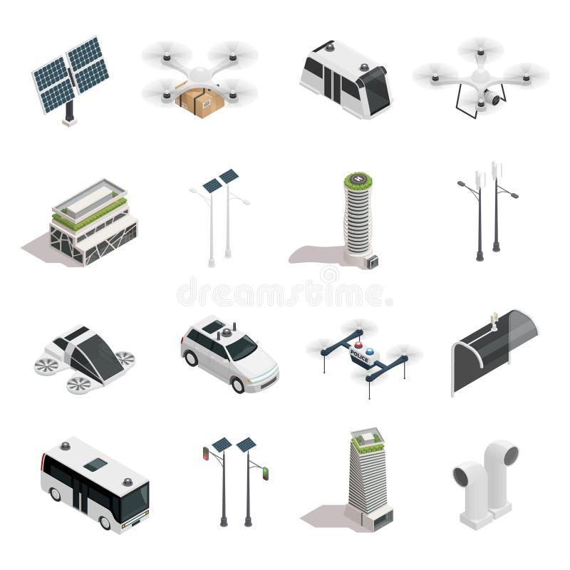 Ícones isométricos da tecnologia esperta da cidade ajustados ilustração stock