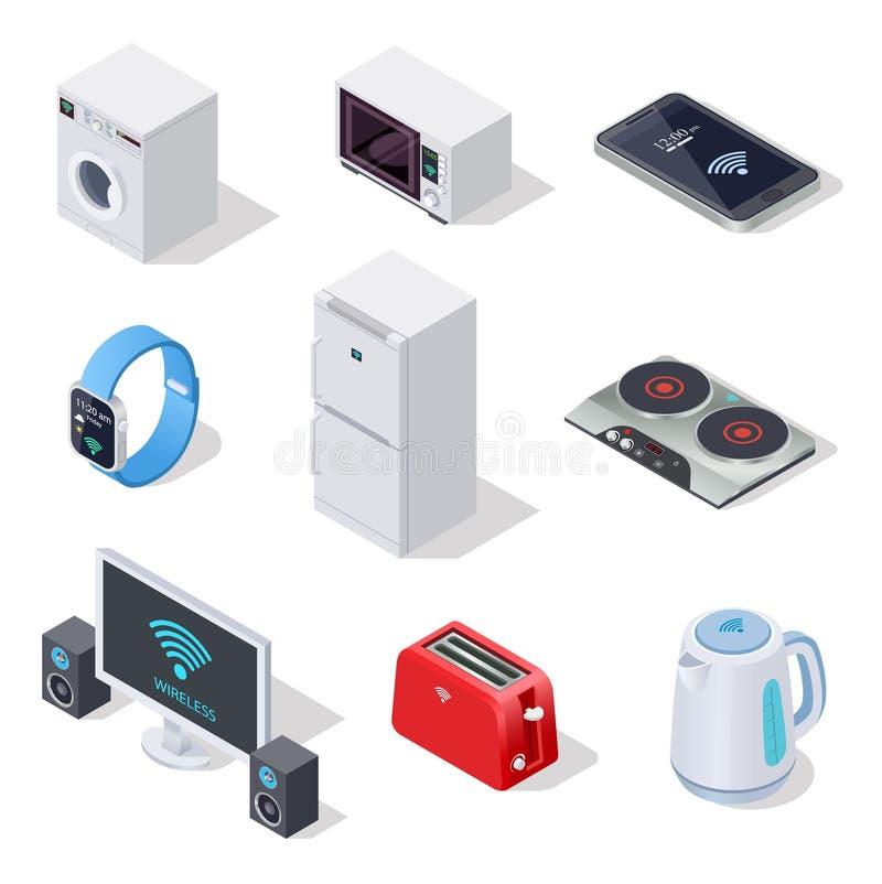 Ícones isométricos das coisas do Internet aparelhos electrodomésticos O vetor sem fio 3d dos dispositivos eletrónicos isolou o gr ilustração do vetor