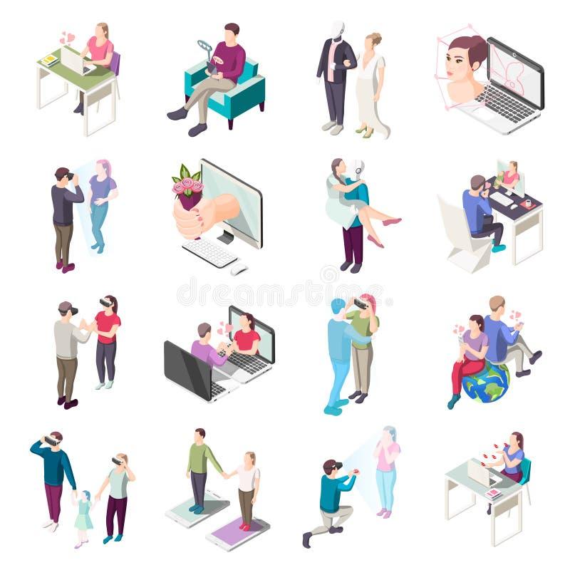 Ícones isométricos do amor virtual ilustração stock