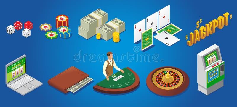Ícones isométricos do casino ajustados ilustração do vetor