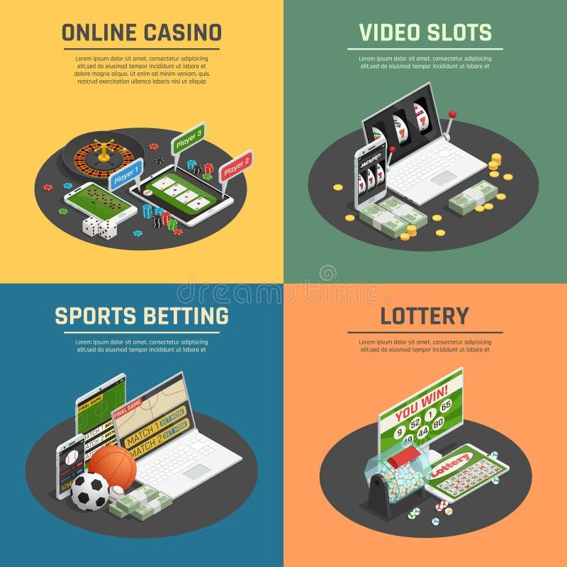 Ícones isométricos do casino 4 em linha ilustração royalty free