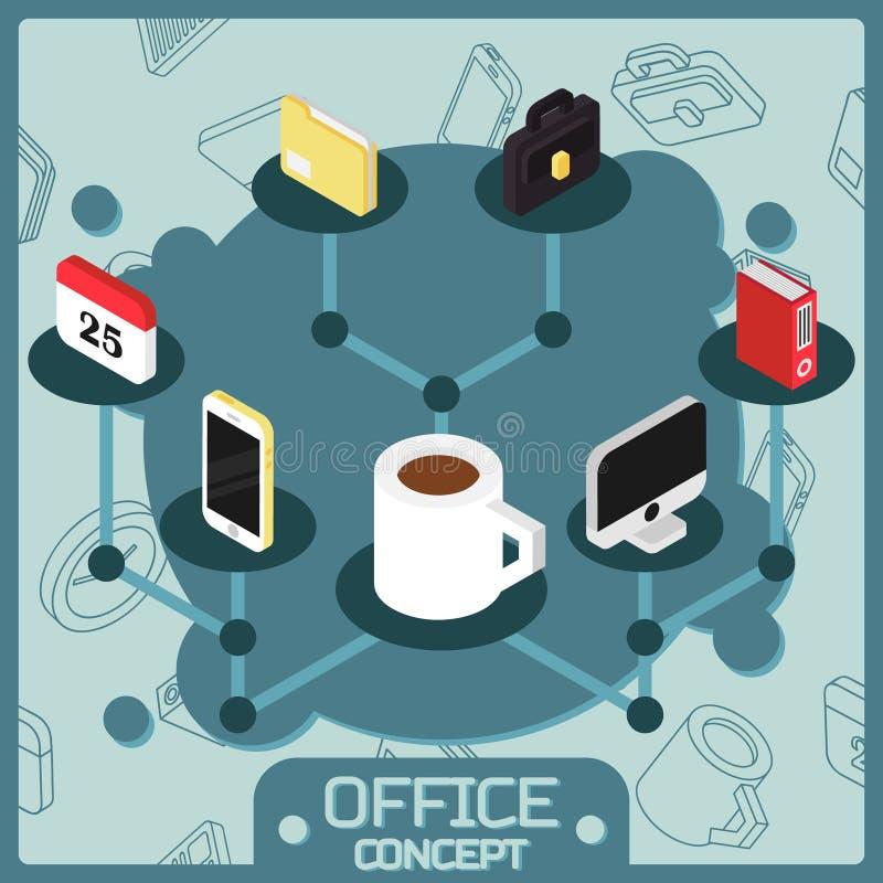 Ícones isométricos do conceito da cor do escritório ilustração stock